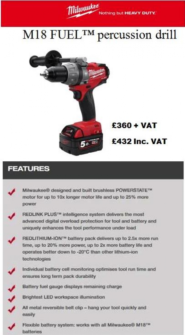 Milwaukee M18 FUEL™ percussion drill
