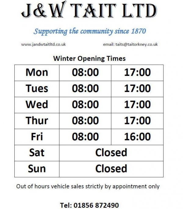 New winter opening times for the parts department as of 1st Nov 2016