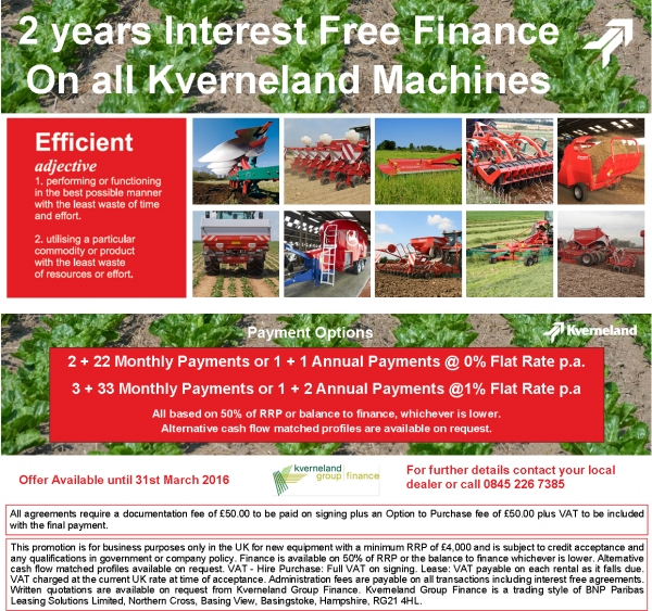 Kverneland 0% interest free finance over 2 years