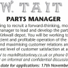 SITUATION VACANT - PARTS MANAGER