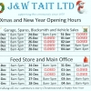 Festive Opening Times 2018