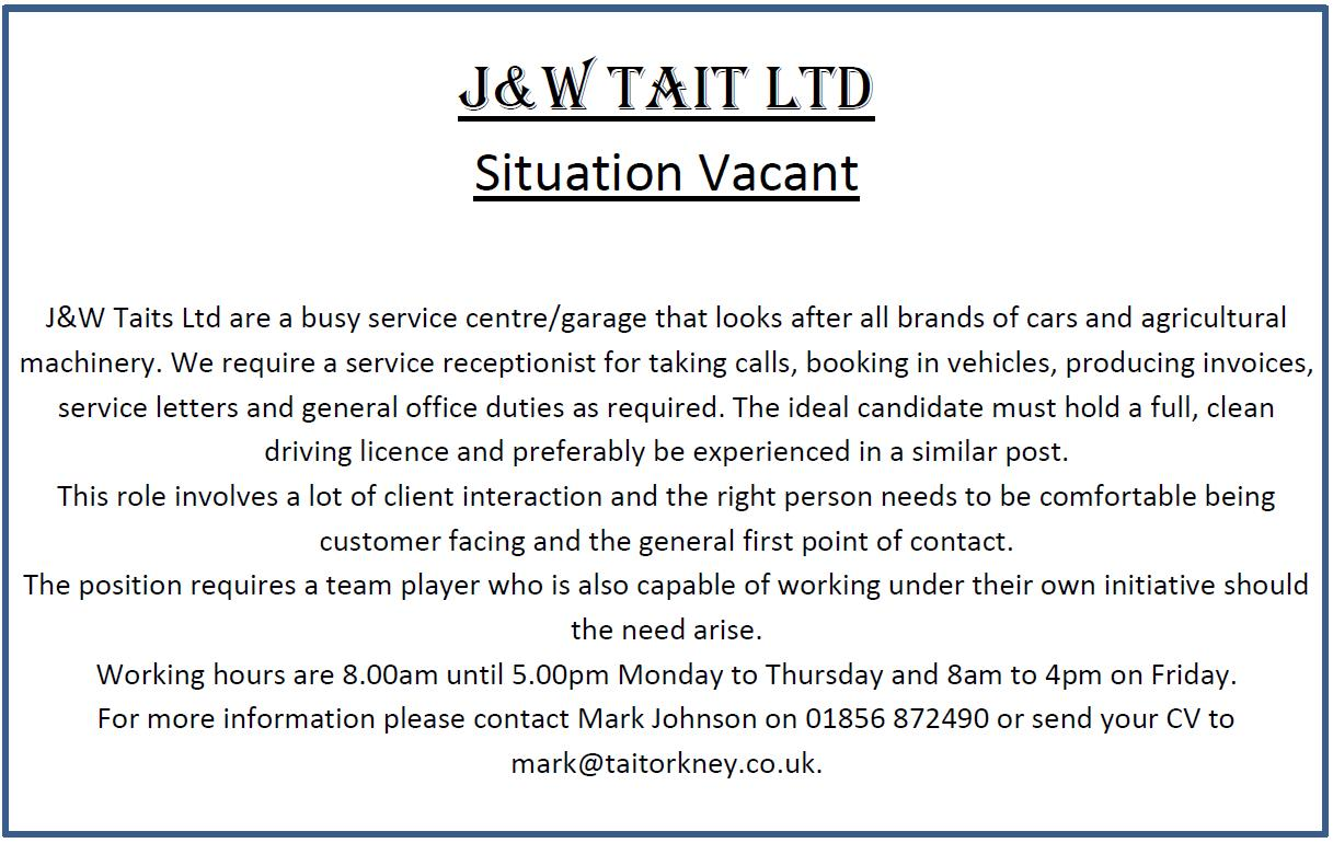 Situation Vacant - Garage Receptionist